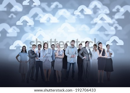 Digital composite of business team against cloud computing background - stock photo