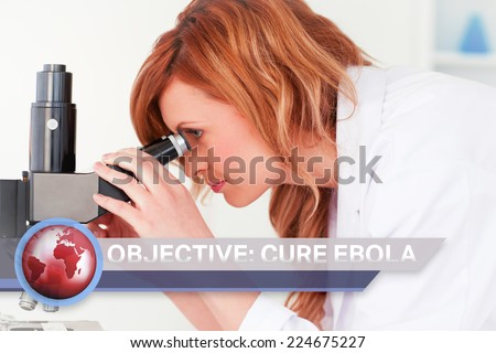 Digital composite of Ebola news flash with medical imagery - stock photo