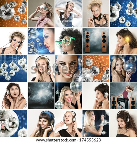 Digital composite of faces different disco dance music young people - stock photo
