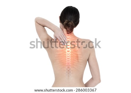Digital composite of Highlighted back pain of woman - stock photo