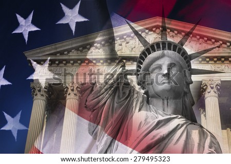 Digital composite: Statue of Liberty and Supreme Court Building  - stock photo