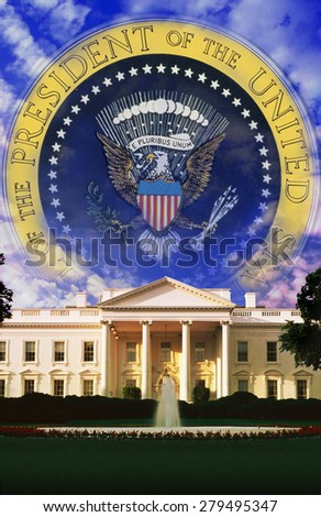 Digital composite: The White House and Seal of the President - stock photo