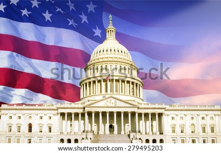 Digital composite: U.S. Capitol with American flag - stock photo