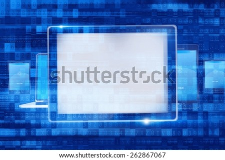Digital Computer Devices. Mobile Devices Concept Illustration with Overlay Abstract Code . - stock photo