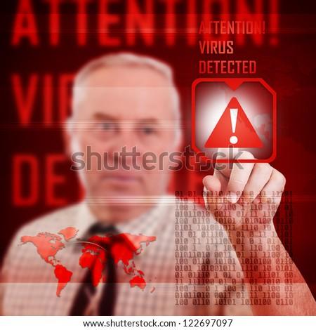 Digital concept, virus detectet on interface - stock photo