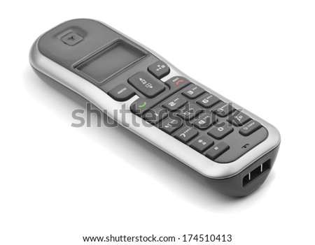 Digital cordless dect phone isolated on white - stock photo