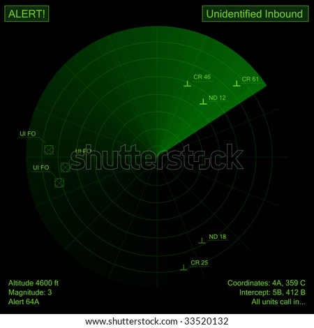 Digital creation of a green radar showing objects. - stock photo