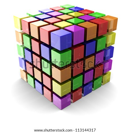 Digital cube made of small colorful boxes over white background - stock photo