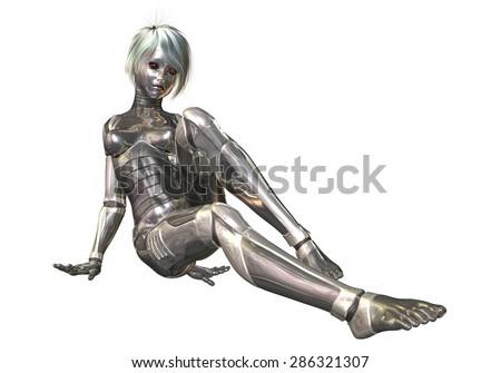 Digital 3D Illustration of a female Cyborg; Cutout on white Background - stock photo