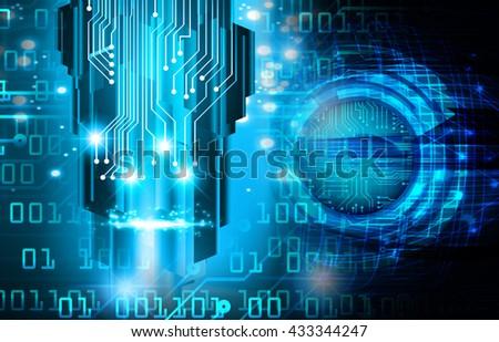 digital data background,blue abstract light hi tech pixel internet technology, Cyber security concept, Cyber data digital computer, bolt, thunderbolt, shaft - stock photo