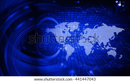 digital data background,blue abstract light hi tech pixel internet technology, Cyber security concept, Cyber data digital computer. world map, motion move speed - stock photo