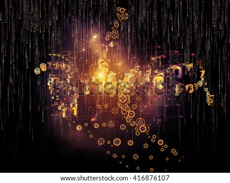 Digital Data series. Composition of numbers and design elements with metaphorical relationship to science, education and modern technology - stock photo