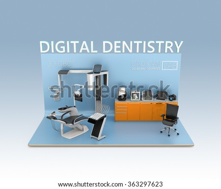 Digital dentistry concept. Input patient facial data by dental CT, then send to chair side comment. Tooth impression could be scan by CT or 3D scanner, print by 3D printer. Original design. - stock photo