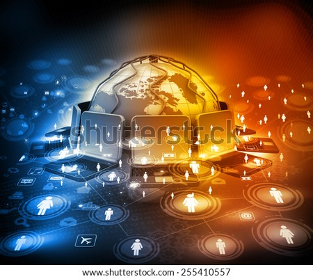 Digital design of Global communication technology 	 - stock photo