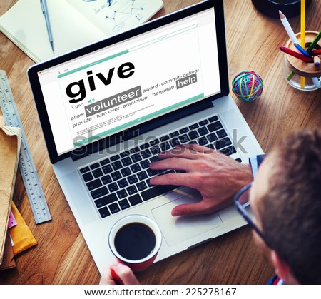 Digital Dictionary Give Volunteer Help Concept - stock photo