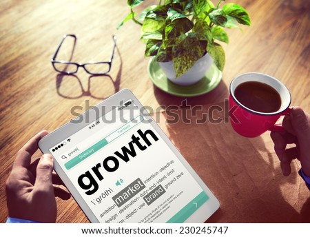 Digital Dictionary Growth Market Brand Concept - stock photo