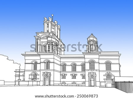 Digital drawing of St. George in the East is one of six Nicholas Hawksmoor (1661- 1736) churches in London and was built from 1714 to 1729, with funding from the 1711 Act of Parliament.  - stock photo