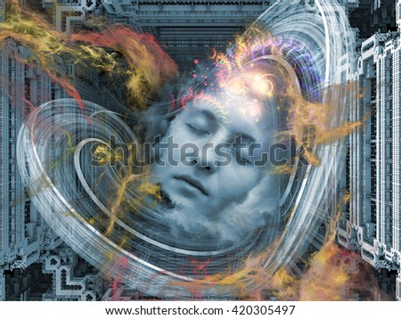 Digital Dreams series. Abstract design made of human face and digital structures on the subject of mind, thought, dream, science and education - stock photo