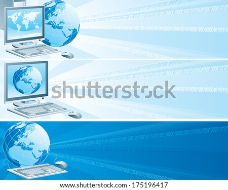 Digital Europe. Set of banners with computer, flat monitor,  mouse and  globe on an abstract background.  - stock photo