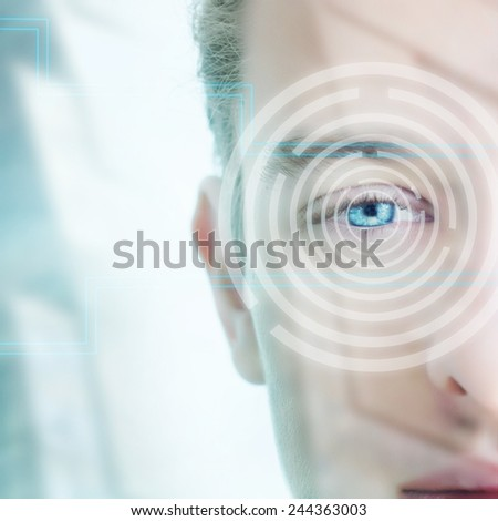 Digital Eye of a young man - stock photo