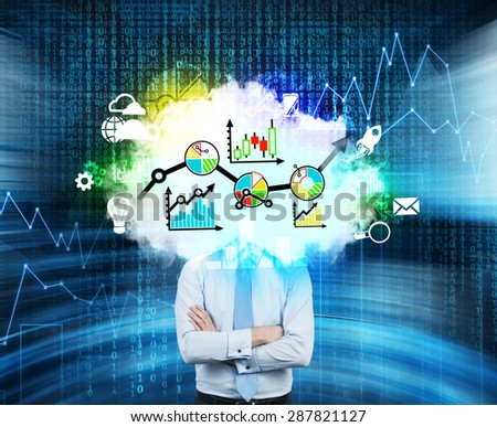 Digital financial solutions for business. Instead of businessman's head a composition with graphs and charts. - stock photo