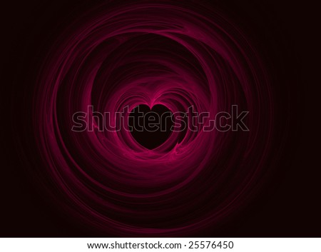 Digital fractal creation in shape of a heart for holiday or romantic themes - stock photo