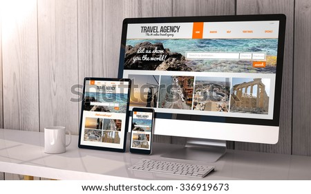 Digital generated devices on desktop, responsive blank mock-up with travel agency website  on screen. All screen graphics are made up. - stock photo