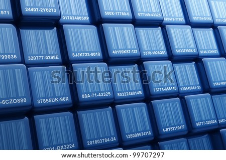 Digital generated group of cubes with different barcodes - stock photo