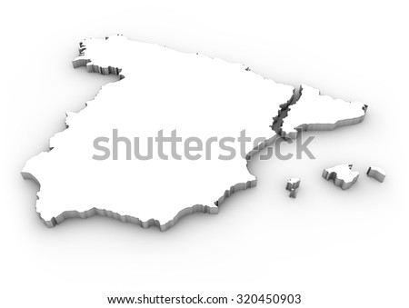 digital generated map of spain with separated catalonia - stock photo