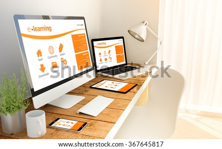 Digital generated office with devices over a wooden table with elearning website. All screen graphics are made up. 3d illustration. - stock photo