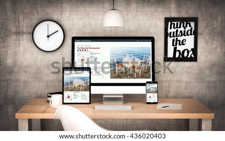digital generated workplace desktop with  digital tablet, computer, laptop and various office objects online directory website on screen. All screen graphics are made up. 3d rendering. - stock photo