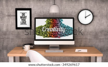 digital generated workspace desktop with creativity concept on screen computer. All screen graphics are made up.  - stock photo