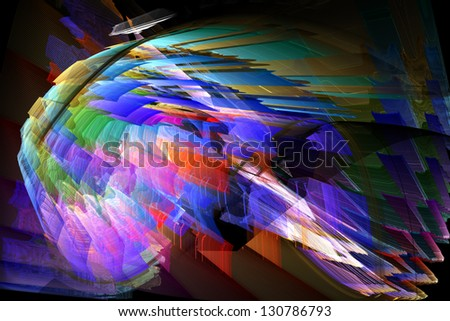 digital graphic: rainbow nautilus - stock photo