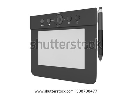Digital Graphic Tablet with Pen on a white background - stock photo