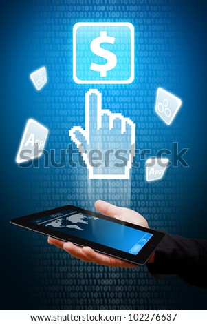 Digital hand from touch pad point to Money icon - stock photo