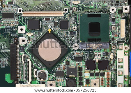 Digital hardware closeup. Microchips assembly on the circuit board macro - stock photo