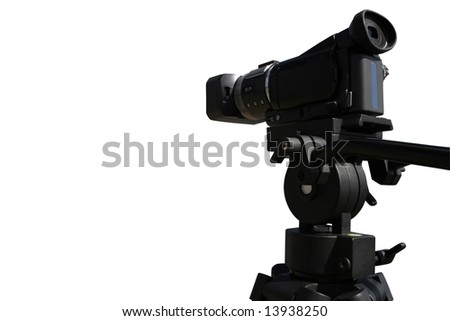 Digital HD video camera on tripod isolated on white background - stock photo