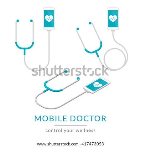 Digital health flat modern illustration of mobile medicine with smartphone and stethoscope with isometric 3d view. Concept icons set - stock photo