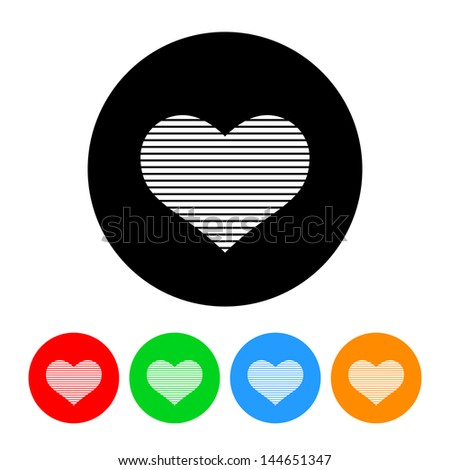 Digital Heart Icon with Color Variations.  Raster version, vector also available. - stock photo