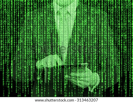 Digital hologram in a matrix style. A man with tablet is browsing data in the Internet. Green. - stock photo