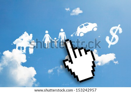 Digital icon hand click on imagination sign hand draw - stock photo