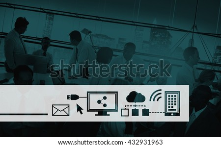Digital Icon Symbol Global Network Technology Concept - stock photo