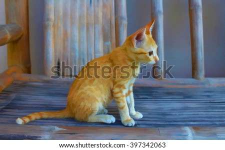 Digital illustration - cute kitty, kitten in the garden, red cat illustration, small cat sitting on a bench picture, domestic cat in village, village cat, lovely kitten on grey bench, kitten drawing - stock photo