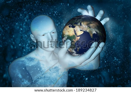"digital illustration 3D man and globe. ""Elements of this image furnished by NASA"" - stock photo"