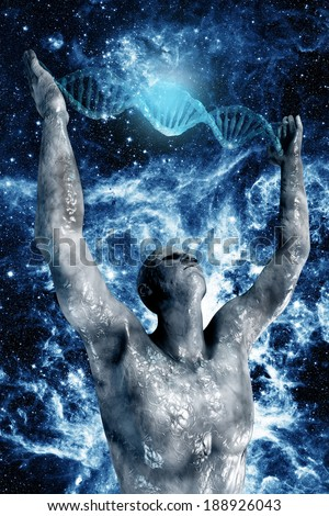 digital illustration 3dman and DNA - stock photo