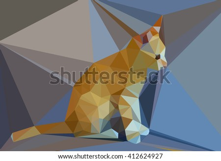 Digital illustration - Low Poly Cat on grey background. Low poly cat. Triangle polygonal stile siamese kitten. Flat design creative illustration. Low poly style cat, modern polydonal design - stock photo