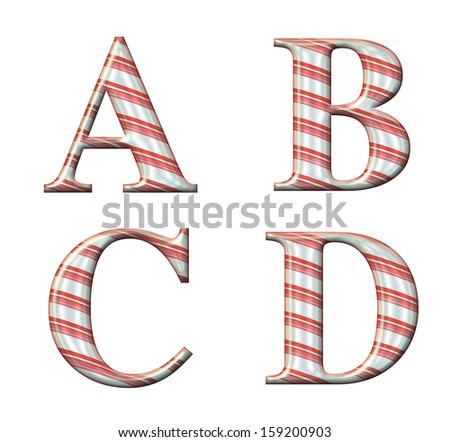 Digital illustration of a candy cane alphabet: Letters A,B,C,D - stock photo