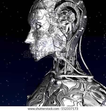 Digital Illustration of a Cyborg - stock photo