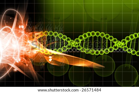 Digital illustration of a DNA model	 - stock photo