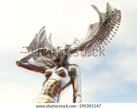 Digital Illustration of a female Cyborg - stock photo